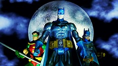 Caped Crusaders (custombase) Tags: dc universe classics figures batman robin batgirl bruce wayne barbra gordon tim drake gotham caped crusader boy wonder moon toyphotography
