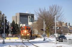 Baretable move (Michael Berry Railfan) Tags: cn canadiannational train freighttrain wharfspur portofmontreal oldport oldmontreal winter snow montreal cn4129 gp9 emd gmd