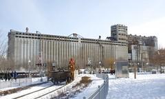 Towards grain elevator #5 (Michael Berry Railfan) Tags: cn canadiannational train freighttrain wharfspur portofmontreal oldport oldmontreal winter snow montreal