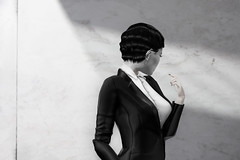 Why I'm desperate and I'm fine (milena carbone) Tags: 3d anger art avatar blackandwhite black white bw change climatechange collapse drawing illustration girl gray grey shadow blazer shirt suit humanity dignity woman monochrome photography portrait profile sadness secondlife secondlifeart secondlifephotography slart slphoto slphotography virtual world