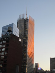 2020 January Evening Light New York Times Building 4619 (Brechtbug) Tags: 2020 evening light new york times building afternoon day clock cloudless 01222020 above hells kitchen clinton architecture skylines sunlight nyc skyline city art scape cityscape winter weather blue sky