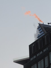 2019 January Orange Plume Balcony Hudson Yards Tower 4614 (Brechtbug) Tags: 2020 evening light new york times building afternoon day clock cloudless 01222020 above hells kitchen clinton architecture skylines sunlight nyc skyline city art scape cityscape winter weather blue sky