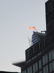 2019 January Orange Plume Balcony Hudson Yards Tower 4610 (Brechtbug) Tags: 2020 evening light new york times building afternoon day clock cloudless 01222020 above hells kitchen clinton architecture skylines sunlight nyc skyline city art scape cityscape winter weather blue sky