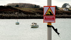 Danger (patrick_milan) Tags: danger red yellow sign letter sea boat ship water