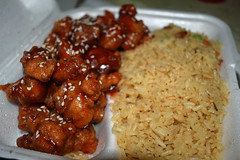 Sesame Chicken And Rice. (dccradio) Tags: lumberton nc northcarolina robesoncounty indoor indoors inside food eat meal chinesefood chinesetakeout chicken meat sesamechicken nikon d3500 dslr wednesday evening wednesdayevening goodevening january lunch supper dinner friedrice porkfriedrice rice