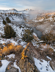 Winter sunrise at Hot Creek (Luc Mena Photography) Tags: california sky mountains clouds river landscape outdoors dawn scenic geysers mountainrange easternsierra mountainpeaks mammothlake hotcreekgeologicalsite ca trees winter usa snow vertical sunrise losangeles stream