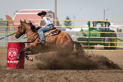 Strathmore Stampede 2018 (tallhuskymike) Tags: strathmorestampede event strathmore stampede rodeo 2018 cowgirl horse barrelracing prorodeo action alberta western outdoors
