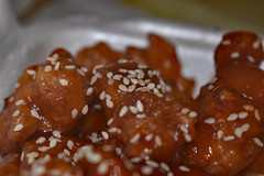 Macro Of Sesame Chicken. (dccradio) Tags: lumberton nc northcarolina robesoncounty indoor indoors inside food eat meal chinesefood chinesetakeout chicken meat sesamechicken nikon d3500 dslr wednesday evening wednesdayevening goodevening january lunch supper dinner