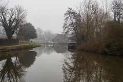Foggy day on the Wey-F1220404 (tony.rummery) Tags: dapdunewharf em5mkii fog guildford historic mft microfourthirds nationaltrust omd olympus reflections riverwey surrey winter england unitedkingdom
