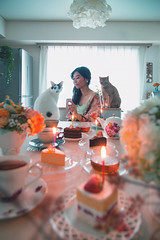 My Birthday (Yuri Figuenick) Tags: birthday celebration party cats pet love myself portrsit tabletop cake candle sweets tea teatime afternoon kitchen myroom japanese asian selfie animal flower me light table