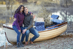 Man & Women sat on a wooden boat (Rydale Country Clothing) Tags: boat women man ladies lady fashion country outfit fleece jeans wood christmas presents snow winter countryside rydale couple