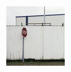 stop (ha*voc) Tags: mamiyac220 105mm tlr film 120 mediumformat 6x6 square fujipro400h ijmuiden abstraction urban urbanabstraction signs wall corrugation empty silence peopleless mundane
