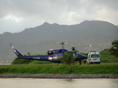 Helicopter and Ambulance (mikecogh) Tags: suva fiji helicopter medivac mountains dqhue