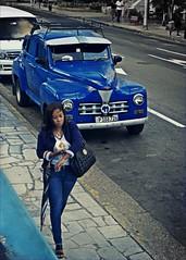 Blue in Havana, La Rampa , Havana. (tmr_flickr2009) Tags: 2019 1941 antique building blue car city cityscape cuba colours dodge history havana habana november people street streetphotography tomros ©tomros travel town urban urbex urbanexploration wall p1300457 vintage lady