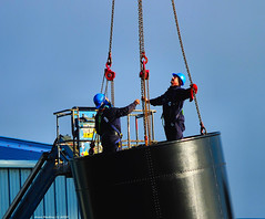 Scotland Greenock workmen on the aft funnel of the PS Waverley checking the lifting chains 22 January 2020 by Anne MacKay (Anne MacKay images of interest & wonder) Tags: scotland greenock workmen fixing lifting chains aft funnel paddle steamer ps waverley 22 january 2020 picture by anne mackay