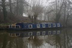 Foggy day on the Wey-F1220398 (tony.rummery) Tags: canalboat em5mkii fog guildford mft microfourthirds omd olympus reflections riverwey surrey winter england unitedkingdom