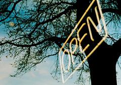 Come In (Gabriella Ollandini) Tags: neon sky night evening illuminated reflection tree sign open ricoh kr5 35mm analog analogica analogue silhouette filmisnotdead filmphotography filmcamera kodak 200 helios istillshootfilm outdoors nyc city urban street photography