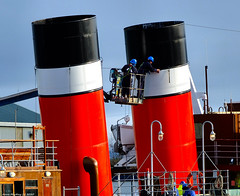 Scotland Greenock the ship repair dock workmen preparing the forword funnel of the PS Waverley for lifting 22 January 2020 by Anne MacKay (Anne MacKay images of interest & wonder) Tags: scotland greenock ship repair dock workmen funnel paddel steamer ps waverley for lifting 22 january 2020 picture by anne mackay