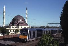 G27 passes Gallipoli Mosque (highplains68) Tags: aus australia n sw newsouthwales rail railroad gallipoli mosque auburn gset