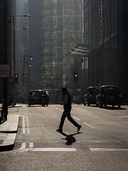 Crossing Upper Bank Street (marksbrokenlens) Tags: upper bank street london crossing shadow pedestrian canary wharf