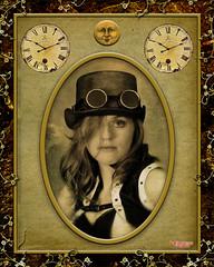 Marie (MBates Foto) Tags: carlzeiss clock color composite composition face female goggles hat indoors moon nikon nikond810 nikonfx people portrait sepia steampunk studio textures woman zeisslens spokane washington unitedstates