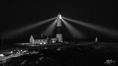 Intruder Alert (TVZ Photography) Tags: 169 blackandwhite monochrome portlandbill isleofportland weymouth dorset england lighthouse light beam sky night evening lowlight longexposure sonya7riii zeiss loxia 21mm