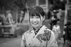 Kyoto Street Portrait (Andrew Allan Jpn) Tags: street streetportrait streetfashion streetphotography streetstyle streets japan japanesegirl japanesewoman travel traditional monochrome blackandwhite eyecontact cute young sweet beauty girls happyplanet asiafavorites