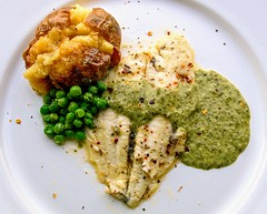 Pan Fried Lemon Sole, Garden Peas, Jacket Potato with Watercress Sauce (Tony Worrall) Tags: fish sauce peas spud potato photos photograff things uk england food foodie grub eat eaten taste tasty cook cooked iatethis foodporn foodpictures picturesoffood dish dishes menu plate plated made ingrediants nice flavour foodophile x yummy make tasted meal nutritional freshtaste foodstuff cuisine nourishment nutriments provisions ration refreshment store sustenance fare foodstuffs meals snacks bites chow cookery diet eatable fodder ilobsterit instagram forsale sell buy cost stock