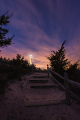 Path To Light (Mike Ver Sprill - Milky Way Mike) Tags: barnegat lighthouse light house pathway path stair beach new jersey stars night sky nightscape travel starry van gogh gough dreamy surreal sunset twilight dusk dawn clouds pollution landscape nature trees silhouette iconic explore