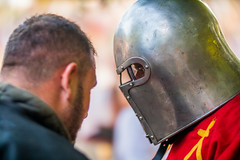 Medieval soldiers facing eachother before a battle