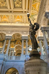Human Triumph (BenBuildsLego) Tags: library congress washington dc building architecture classical neoclassical bronze sculpture statue ceiling torch lamp arch