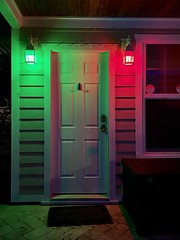 Red, Right, Return (Jack Blackstone (Travel-Off/On)) Tags: iphone verobeach redrightreturn channelmarkerlight night door color entrance portal porch welcome street red green