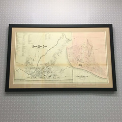 """Here's a large vintage """"Cape May, NJ Map"""" - stabilized, lined, and archivally presented in a simple matting and black wood frame. (Custom Picture Framer LLC) Tags: 19038 antiquemap archivalframing capemay conservation conservationframing customframing custompictureframer keswickvillage keswickvillagerocks newjersey shopglenside truevue truvue vintagemap"""