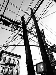 I've got the power.  ;-) (Manhattan Girl) Tags: shellykayphotography bwphotography longislandcity queens powerlines telephonepoles monochromatic android