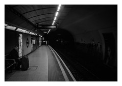 FILM - In front of an opening (fishyfish_arcade) Tags: 35mm analogphotography bw blackwhite filmphotography filmisnotdead istillshootfilm kentmere400 monochrome pentaxespio140m analogcamera compact film mono streetphotography london londonunderground tube tunnel