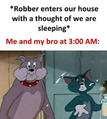 Me and my bro at 3 am (gagbee18) Tags: brother cartoons funny memes robber tom