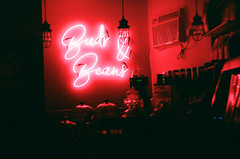 The Quiet of the Night : Pink Neon (Gabriella Ollandini) Tags: cerise pink neon illuminated night cafe closed 35mm filmisnotdead filmcamera filmphotography kodak nyc analog analogue analogica silhouette sign signage store window graphic glow istillshootfilm interior cbd empty quiet stillness shop street photography city urban inside brooklyn marijuana