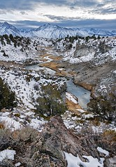 Winter sunset at Hot Creek (Luc Mena Photography) Tags: california clouds easternsierra geysers hotcreekgeologicalsite landscape mammothlake mountainpeaks mountainrange mountains outdoors river scenic sky snow stream sunset trees vertical winter losangeles ca usa