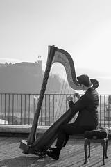 Rooftop concerto (Karsten Fatur) Tags: music musician harp harpist portrait portraitphotography photography bw blackandwhite greyscale monochrome ljubljana slovenija slovenia balkan europe rooftop city cityscape castle haze shadow shadows sun sunlight roof outside gay lgbt lgbtq queer queerart gaymen gayart