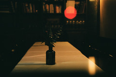 The Quiet of the Night: No Reservation Needed (Gabriella Ollandini) Tags: analog analogica analogue blur soft night restaurant dinning table cafe dark lightleaks bokeh istillshootfilm illuminated filmisnotdead filmphotography vintage cinematic filmcamera film quiet stillness silence empty interiors grain streetphotography city urban nyc