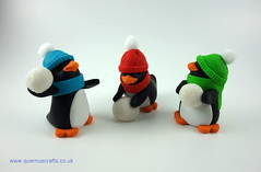 Wee Cozy Snowball Penguins (Quernus Crafts) Tags: polymerclay quernuscrafts cute penguins cozy hat scarf snowball