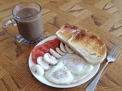Breakfast is served (canadianlookin) Tags: eggs basted toast tomatoes mushroom breakfast food coffee