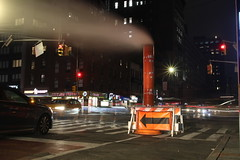 City Nights (Derbyshire Harrier) Tags: cars traffic 2019 longexposure manhattan newyork city usa steam trafficlights may spring 7thavenue lighttrails steampipe