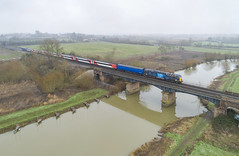 57312 over the Avon at Eckington (robmcrorie) Tags: eckington river avon worcestershire phantom 4 bridge 57312 5q76 tyne newport scrap mk 3 mark hst coaches liner rog rail operations group