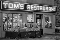 Tom's Restaurant Seinfeld BW (Susan Candelario) Tags: comedy condition fl florida harlem jerryseinfeld location manhattan morningsideheights ny nyc newyork newyorkcity northamerica panhandle seinfeld sunshinestate susancandelario tomsrestaurant tom's unitedstates upperwestside architectural architecture broadway building cityscape classic coffeeshop door doors doorway entrance evening exit exterior famous iconic illuminated lights lit neon night nydiner nycdiner outside restaurant signs sitcom street television upper windows