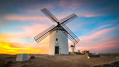 Consuegra Windmills, Spain (Darcey Prout) Tags: spain donquixote windmill sunset castle hdr d800 nikon 1424mm blue europe eu sp hill sky sundown nikkor nikond800