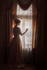Looking Out ({jessica drossin}) Tags: jessicadrossin portrait face window lace dark profile dress yellow curtains
