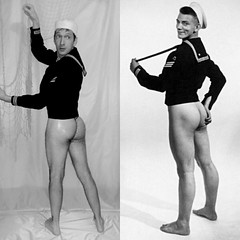 Vintage Sailor (jlaw1987) Tags: butt bottom navy sailor pinup beefcake vintage style retro muscle nude man guy boy bulge pin up gay hunk sexy