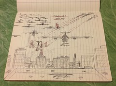 Photo of Destruction of a Great City - one of my school book doodles in a Maths class in 1977 :)