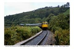 Photo of Bideford - Torrington (between). Railtour approaching the Torridge bridge. 16.10.82